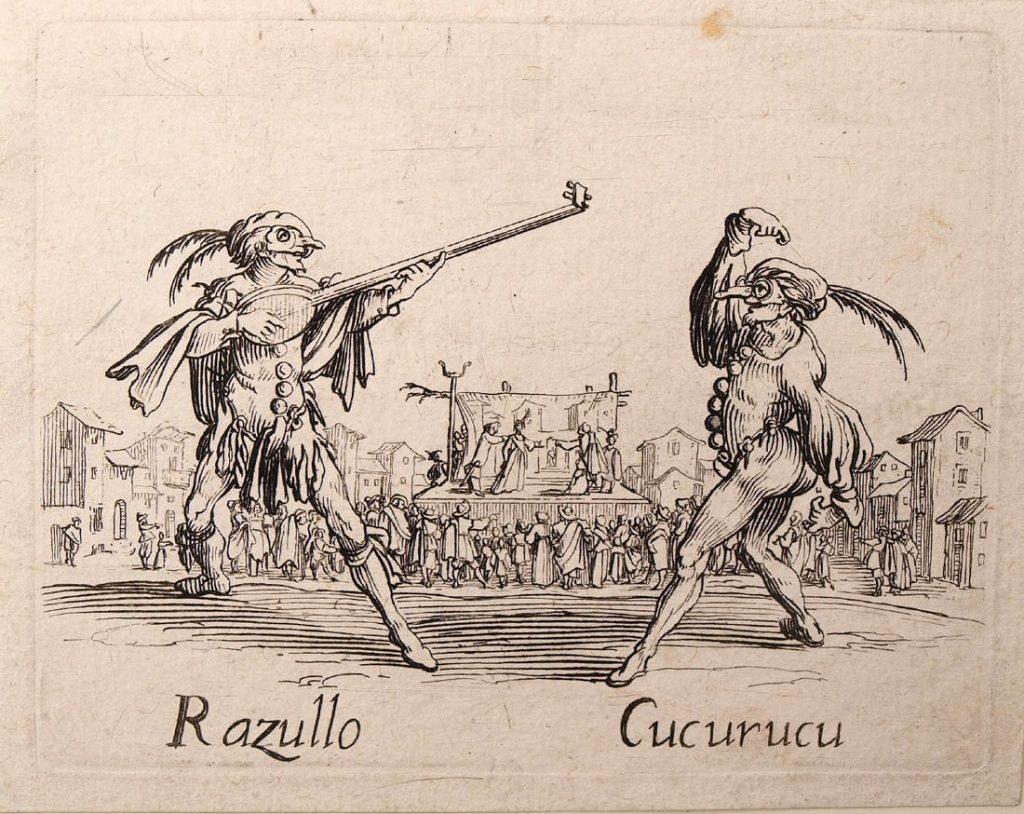 Två commedia dell'arte-karaktärer