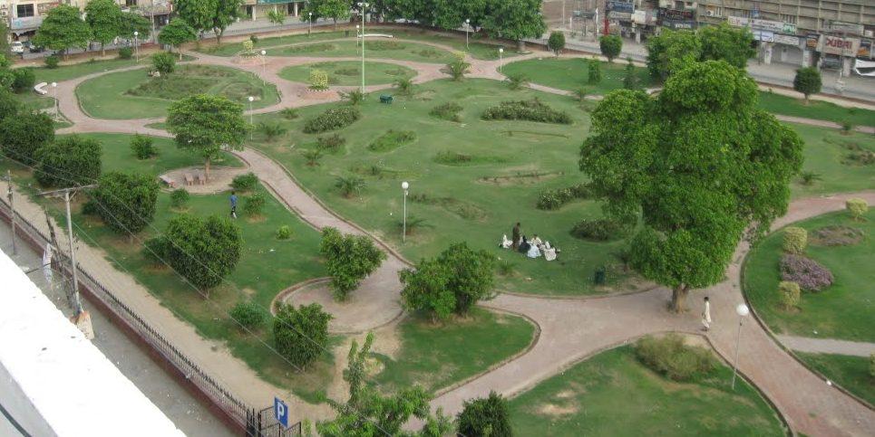 En park ovanifrån