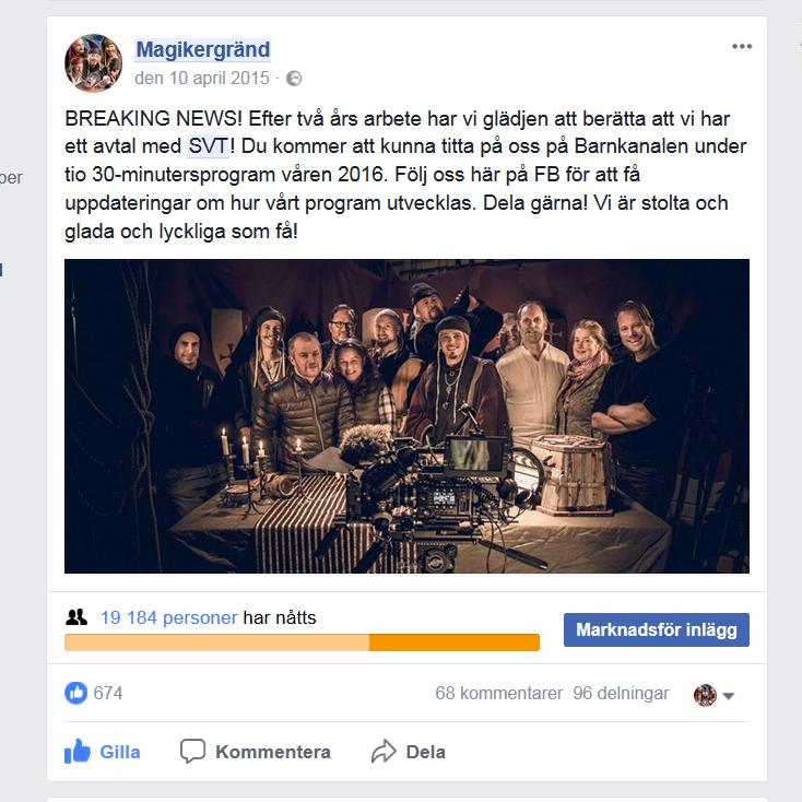 Facebookinlägg om att Magikergränd fått ett kontrakt med SVT
