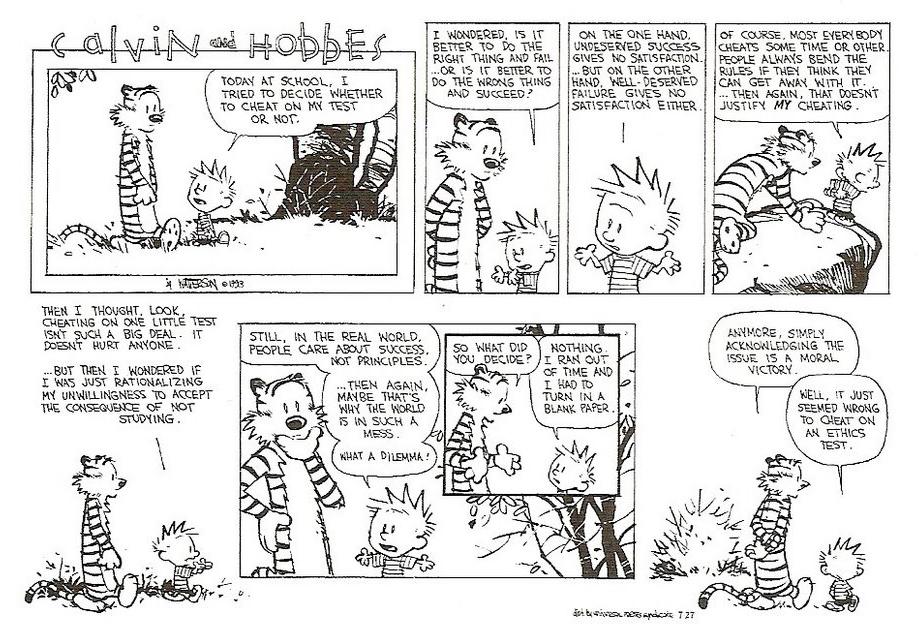 Kalle och Hobbe diskuterar moral