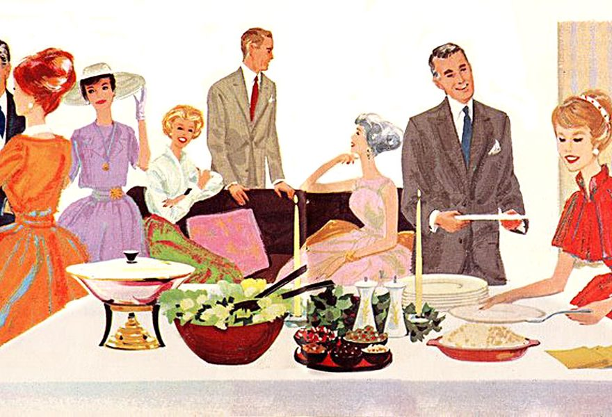 Minglande människor i 50-talet
